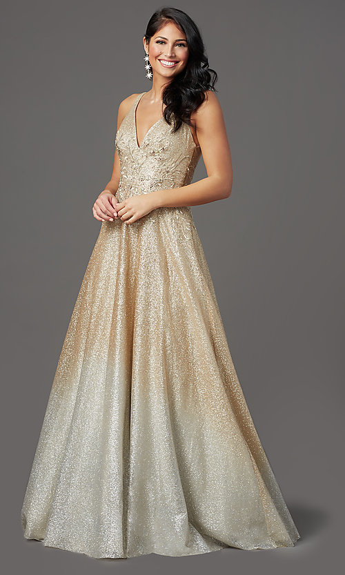 Image of long glitter ombre v-neck prom dress. Style: FB-GL2992 Front Image