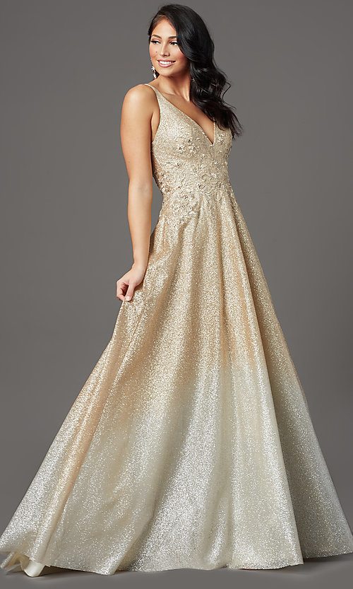 Image of long glitter ombre v-neck prom dress. Style: FB-GL2992 Detail Image 2