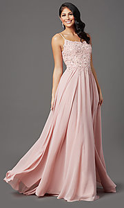 Image of scoop-neck long prom dress with embroidered bodice. Style: FB-GL2999 Front Image