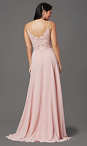 Image of scoop-neck long prom dress with embroidered bodice. Style: FB-GL2999 Back Image