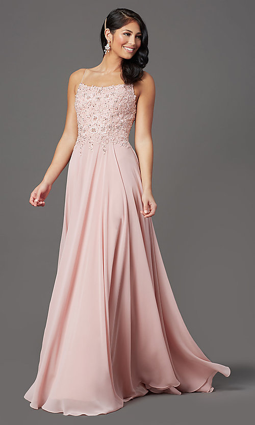 Image of scoop-neck long prom dress with embroidered bodice. Style: FB-GL2999 Detail Image 2