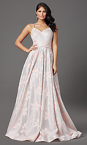 Image of floral-brocade glitter long prom dress in blush. Style: FB-GL2948 Detail Image 2