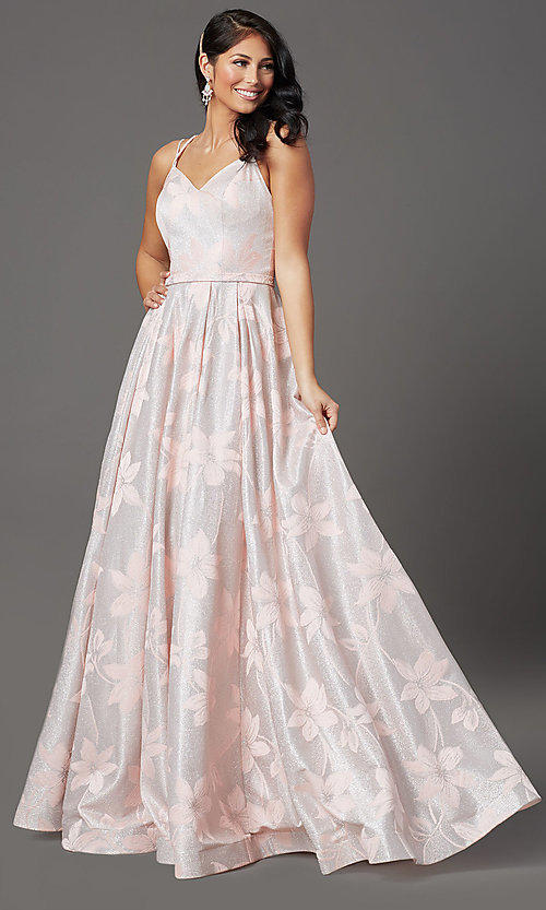 Image of floral-brocade glitter long prom dress in blush. Style: FB-GL2948 Front Image