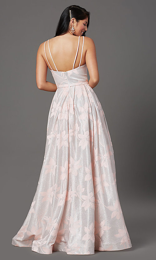 Image of floral-brocade glitter long prom dress in blush. Style: FB-GL2948 Back Image