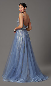 Image of long glitter prom dress with tulle overlay. Style: FB-GL2993 Back Image