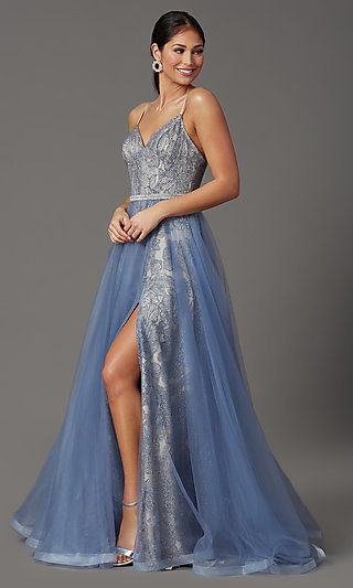 Long Glitter Prom Dress with Tulle Overlay