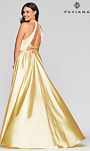 Image of v-neck charmeuse long prom dress with pockets. Style: FA-S10403 Detail Image 3