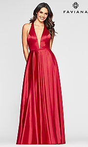 Image of v-neck charmeuse long prom dress with pockets. Style: FA-S10403 Front Image