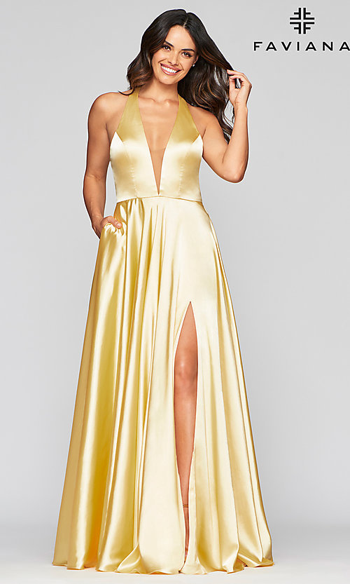 Image of v-neck charmeuse long prom dress with pockets. Style: FA-S10403 Detail Image 2