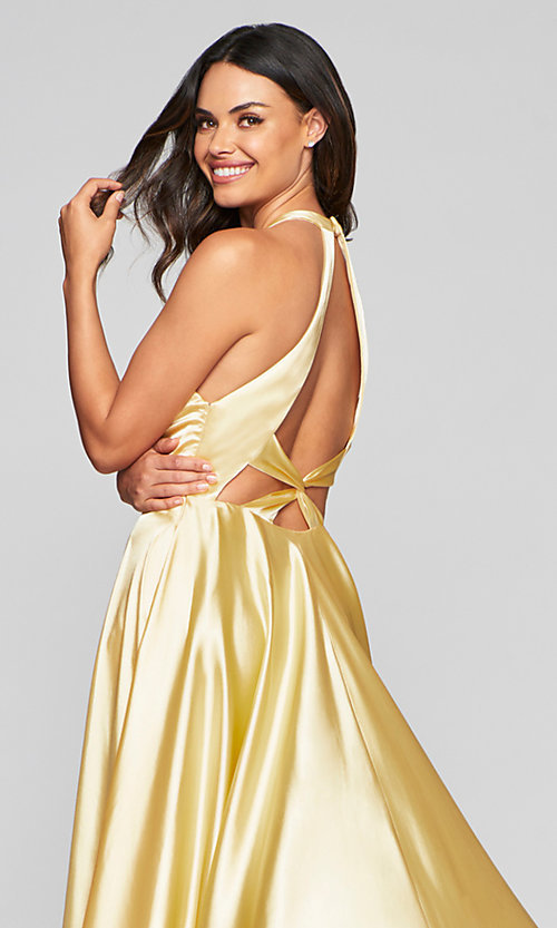 Image of v-neck charmeuse long prom dress with pockets. Style: FA-S10403 Detail Image 5