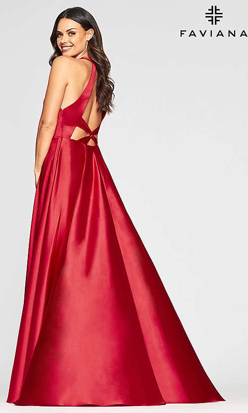 Image of v-neck charmeuse long prom dress with pockets. Style: FA-S10403 Back Image