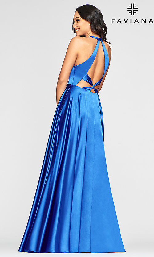 Image of v-neck charmeuse long prom dress with pockets. Style: FA-S10403 Detail Image 6
