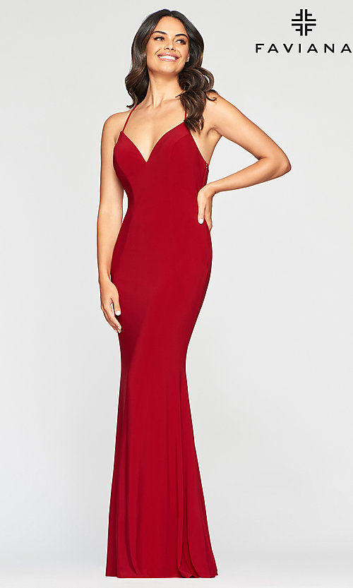 Long Stretch Jersey Prom Dress With An Open Back by Promgirl