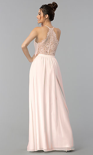Long Chiffon Prom Dress with Sheer Lace Racerback
