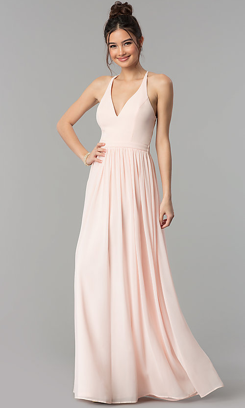 Image of long chiffon prom dress with sheer lace racerback. Style: LP-27442-v Back Image