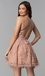Image of embossed-print short fit-and-flare party dress. Style: LUX-LD4075-v Back Image