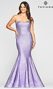 Image of long strapless metallic mermaid-style prom dress. Style: FA-S10426 Detail Image 3