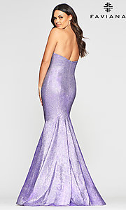 Image of long strapless metallic mermaid-style prom dress. Style: FA-S10426 Detail Image 4
