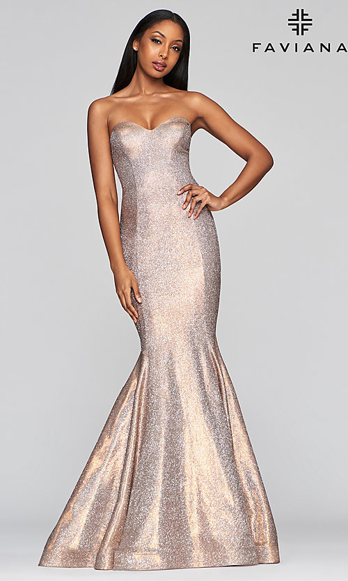 Image of long strapless metallic mermaid-style prom dress. Style: FA-S10426 Front Image