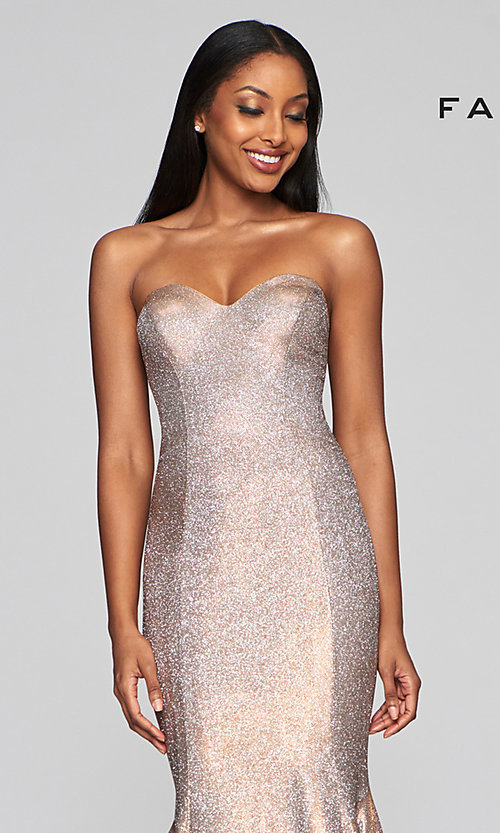 Image of long strapless metallic mermaid-style prom dress. Style: FA-S10426 Detail Image 1