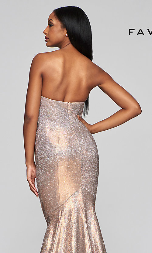 Image of long strapless metallic mermaid-style prom dress. Style: FA-S10426 Detail Image 2