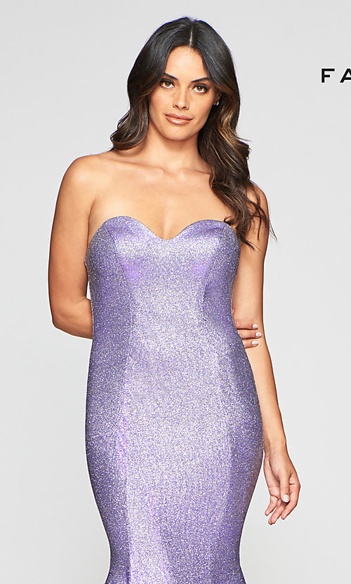 Image of long strapless metallic mermaid-style prom dress. Style: FA-S10426 Detail Image 5