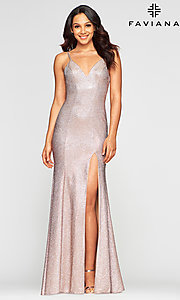 Image of Faviana long sparkly glitter formal prom dress. Style: FA-S10427 Front Image