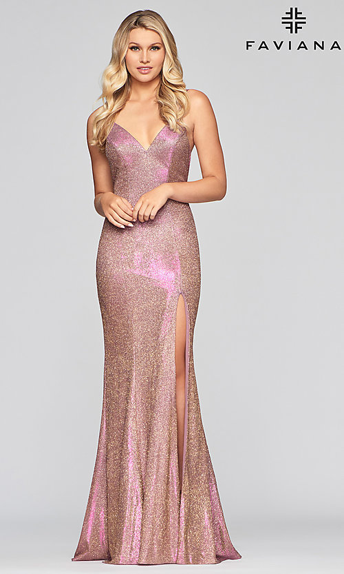 Image of Faviana long sparkly glitter formal prom dress. Style: FA-S10427 Detail Image 3