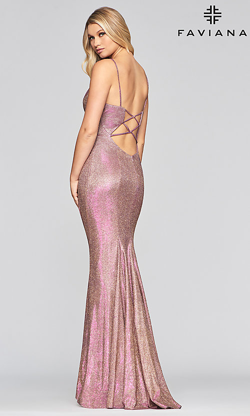 Image of Faviana long sparkly glitter formal prom dress. Style: FA-S10427 Detail Image 4