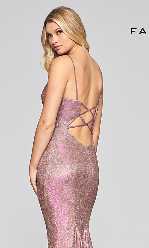 Image of Faviana long sparkly glitter formal prom dress. Style: FA-S10427 Detail Image 5