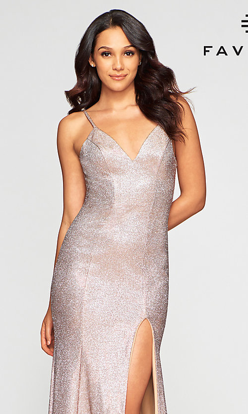 Image of Faviana long sparkly glitter formal prom dress. Style: FA-S10427 Detail Image 1
