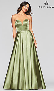 Image of Faviana long strapless prom dress with pockets. Style: FA-S10428 Detail Image 3