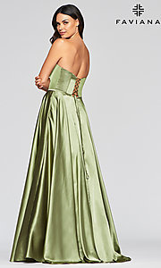 Image of Faviana long strapless prom dress with pockets. Style: FA-S10428 Detail Image 4
