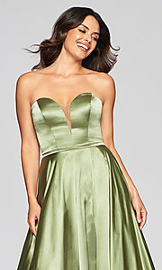 Image of Faviana long strapless prom dress with pockets. Style: FA-S10428 Detail Image 5