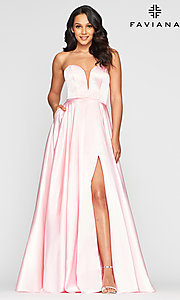 Image of Faviana long strapless prom dress with pockets. Style: FA-S10428 Front Image