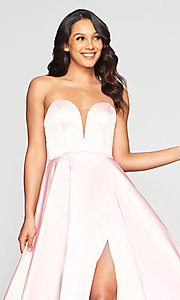 Image of Faviana long strapless prom dress with pockets. Style: FA-S10428 Detail Image 1