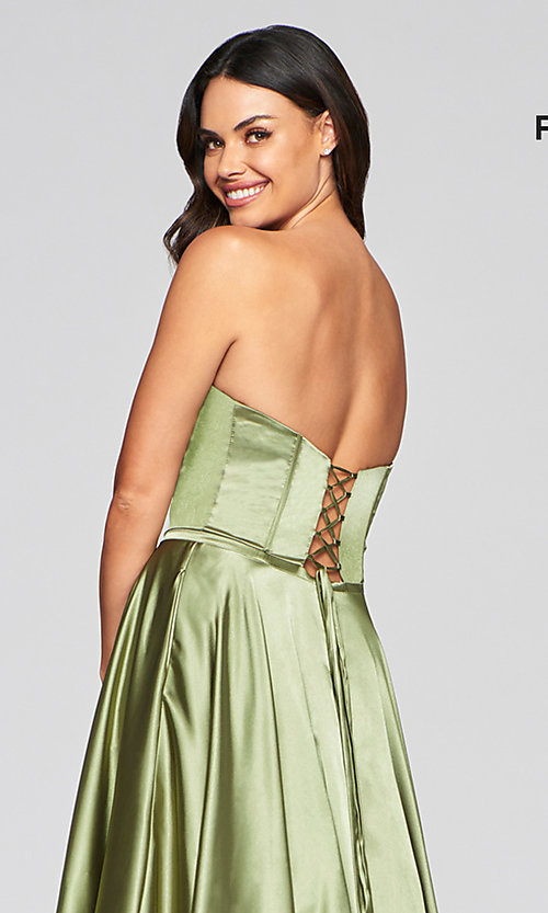 Image of Faviana long strapless prom dress with pockets. Style: FA-S10428 Detail Image 6