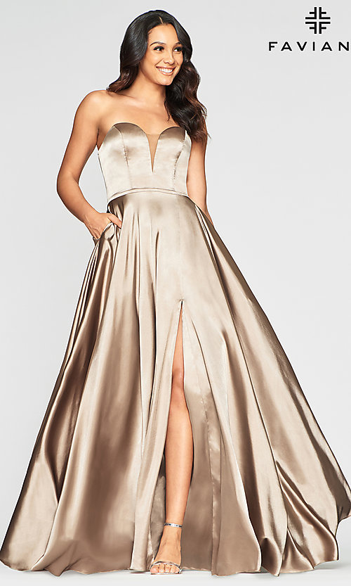 Image of Faviana long strapless prom dress with pockets. Style: FA-S10428 Detail Image 7