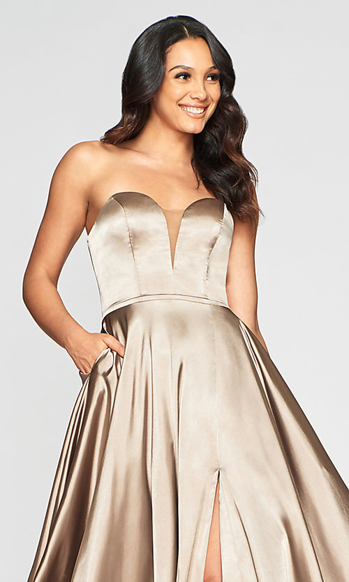 Image of Faviana long strapless prom dress with pockets. Style: FA-S10428 Detail Image 8