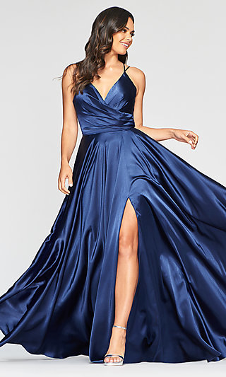 Classic V-Neck Prom Dress with an Open Back