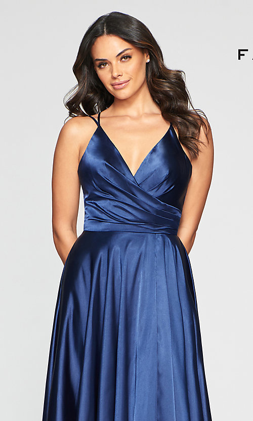 Image of classic Faviana prom dress with open corset back. Style: FA-S10429 Detail Image 1