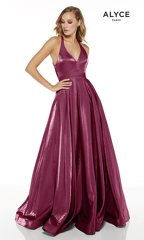 Image of long v-neck a-line Alyce prom dress. Style: AL-60623 Front Image