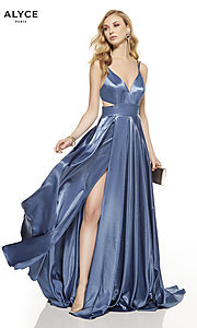 Image of long v-neck Alyce prom dress with side cut outs. Style: AL-60625 Front Image