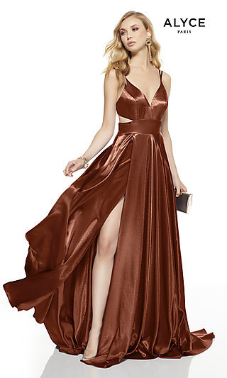Long V-Neck Alyce Prom Dress with Side Cut-Outs
