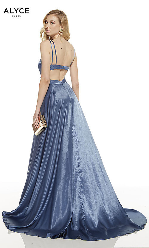 Image of long v-neck Alyce prom dress with side cut outs. Style: AL-60625 Back Image