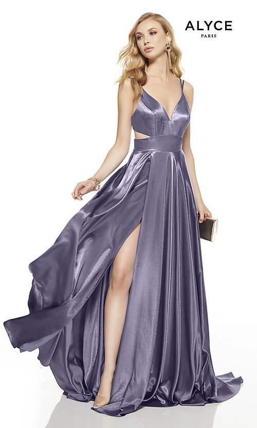 Image of long v-neck Alyce prom dress with side cut outs. Style: AL-60625 Detail Image 1