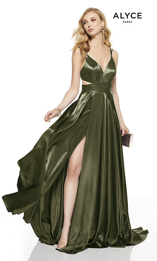 Image of long v-neck Alyce prom dress with side cut outs. Style: AL-60625 Detail Image 2
