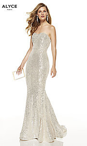 Image of long sequin strapless formal prom dress with train. Style: AL-60809 Detail Image 2