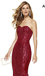 Image of long sequin strapless formal prom dress with train. Style: AL-60809 Detail Image 1
