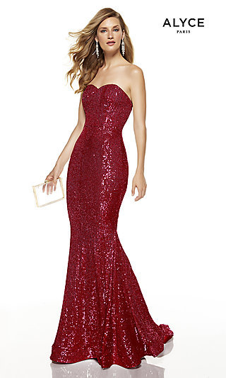 Long Sequin Strapless Formal Prom Dress with Train